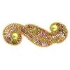 Motif Sequin/beaded 5.7x13.5cm (2pcs) Dark gold Aurora Borealis